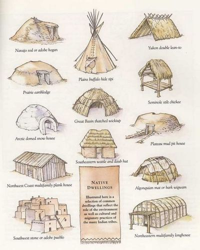 Illustrations of Native American homes from different cultural areas.