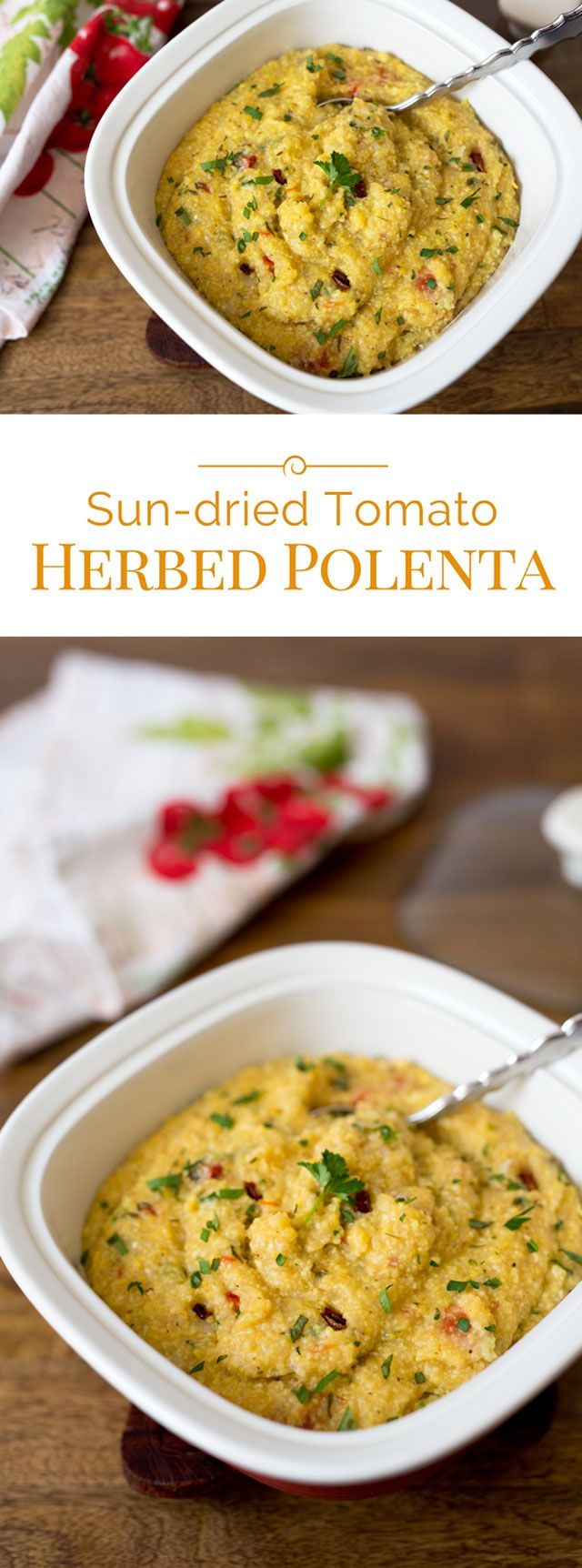 Polenta is an Italian corn porridge with a grits-like consistency, it's gluten-free. This version is flavored with fresh herbs and sweet sun-dried tomatoes.