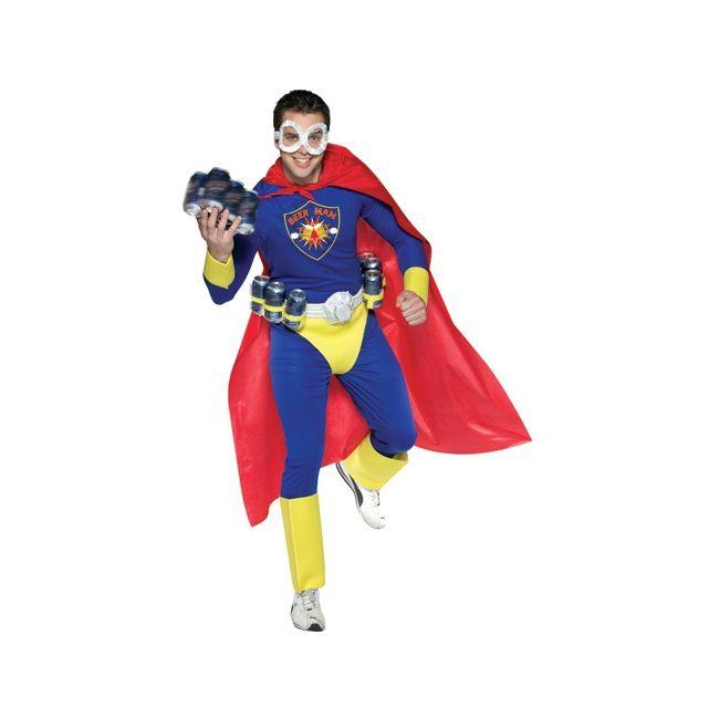 Super beer man kostuum voor volwassenen. Bierman, look-a-like Superman kostuum. Dit kostuum is inclusief riem, speciaal om blikjes bier in mee te nemen! Maat: one size, M/L. Carnavalskleding 2015 #carnaval