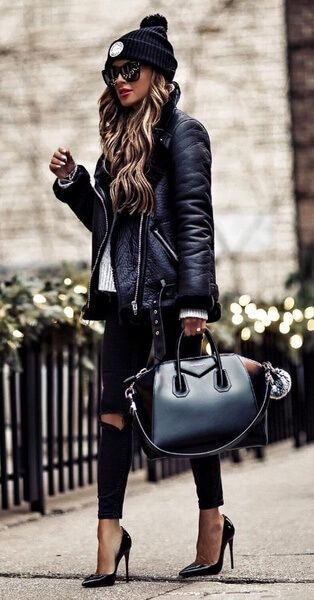 When some extra glamour is called for, bring out your glossiest leather items and style them all together. We're talking stiletto heels, leather jacket and designer leather handbag. #winteroutfits #winter #outfits