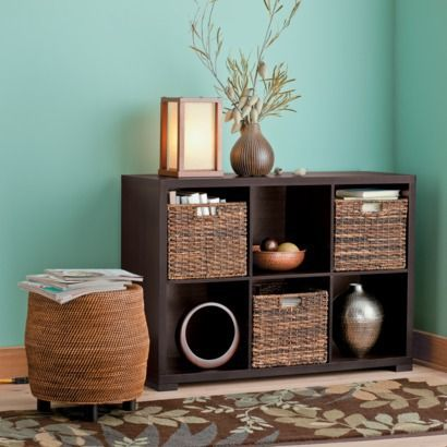 Target Home 6 Cube Horizontal Organizer - buy a few of them and line them up against a wall (or tow adjoining walls) and create instant bookshelves/storage by placing baskets, and space for your nicknacks... not to mention a television stand.