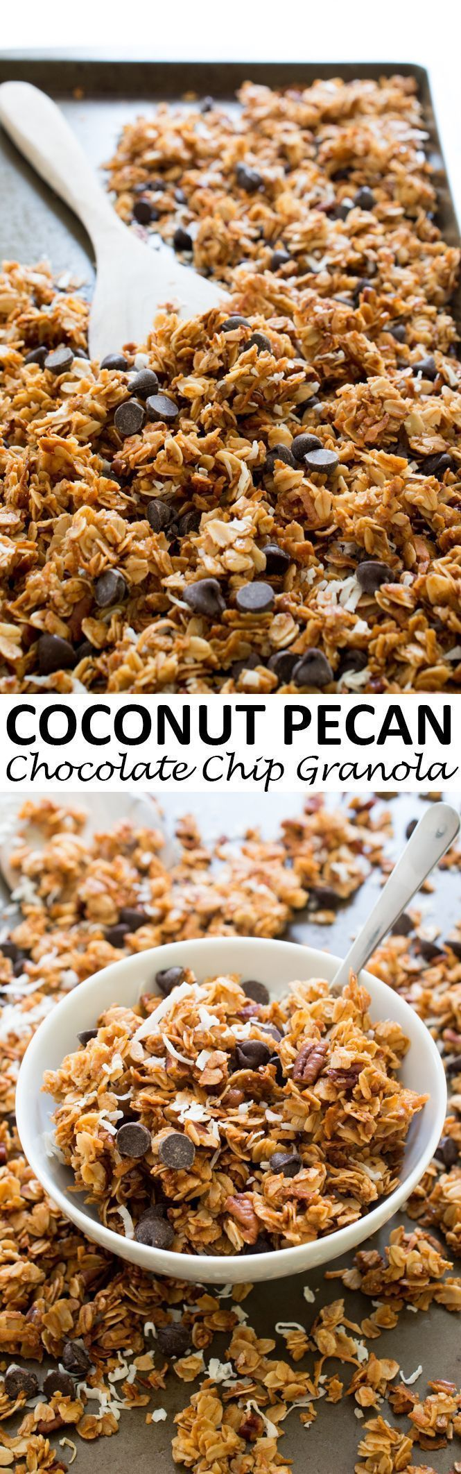 5 Ingredient Coconut Pecan Chocolate Chip Granola. Great for breakfast or as a snack. So much better than store-bought! | chefsavvy.com
