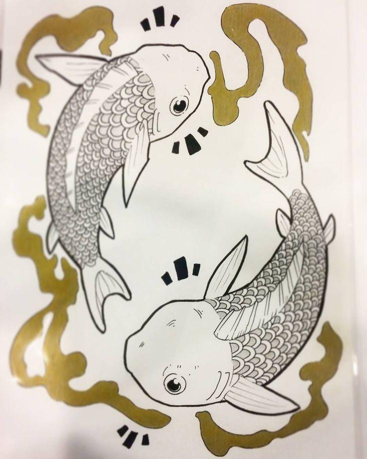 Koi Original Ink by Paula Lucas