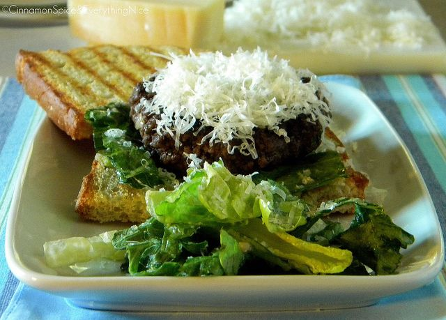 Caesar Salad Flank Steak Burgers on Garlic Sourdough Crostini