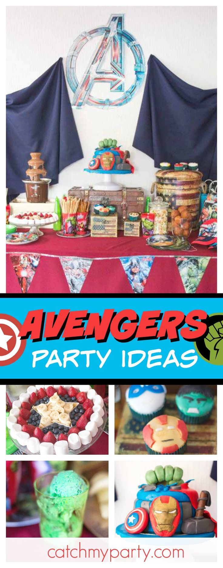 Check out this fantastic Avengers superhero birthday party. The birthday cake is incredible!! See more party ideas and share yours at CatchMyParty.com