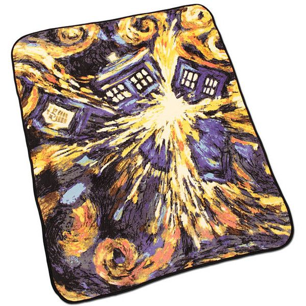 Doctor Who Exploding TARDIS Throw Blanket ($15) ❤ liked on Polyvore featuring home, bed & bath, bedding, blankets, doctor who, doctor who bedding, dr who blanket, dr who throw blanket, dr who bedding and doctor who blanket