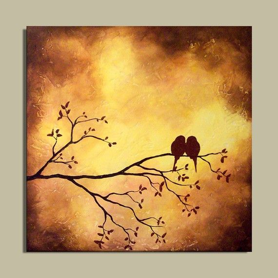 Original Painting - Love Birds on Tree Branch... I'm thinking I may replicate this in my own way. I love it.