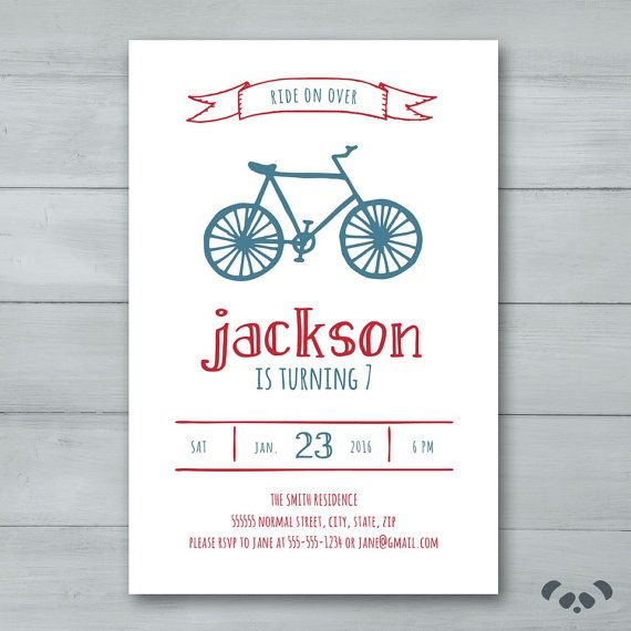 Bicycle Birthday Party Invitation    Bike by PandafunkCreations