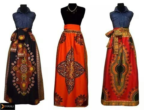 Dashiki maxi skirt