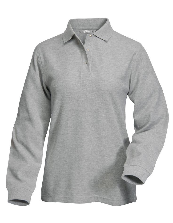 Womens Long Pleeve Pique Easy Care Knit Shirt. Tri mountain 612 #KnitShirt  #LongSleeveJacket #Womenswear #easycare