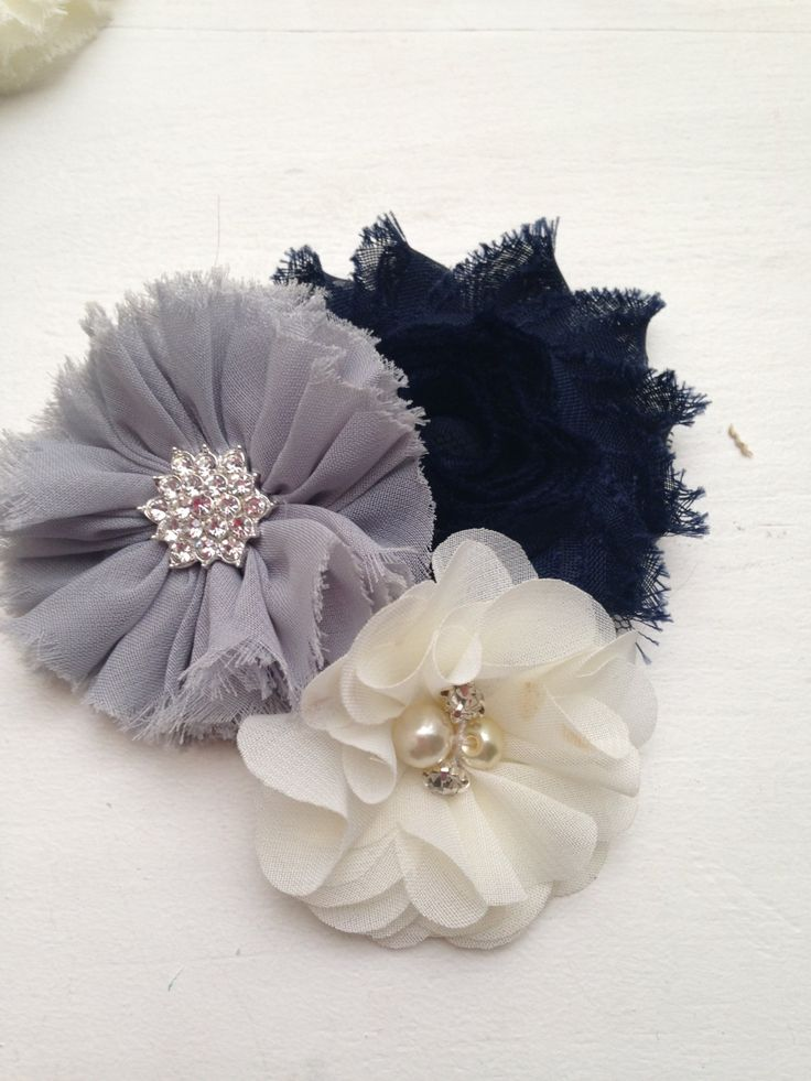New to LaBellaRoseBoutique on Etsy: Navy grey clip gray ivory lotus chiffon satin flowers on Clip cream baby toddler child teen women wedding flower girl pictures family gift (7.99 USD)