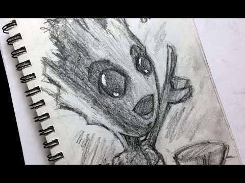 Sketch Baby Groot Drawing Easy Www Picturesso Com