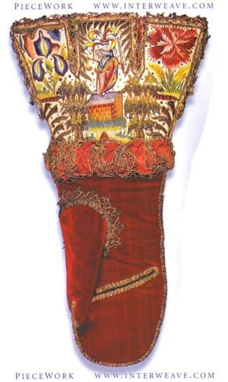 elizabethan gauntlett mittens. Crimson silk velvet worked in satin and split stitch with sequins, gilt thread and silk floss dyed in 12 different colours. England Circa 1600