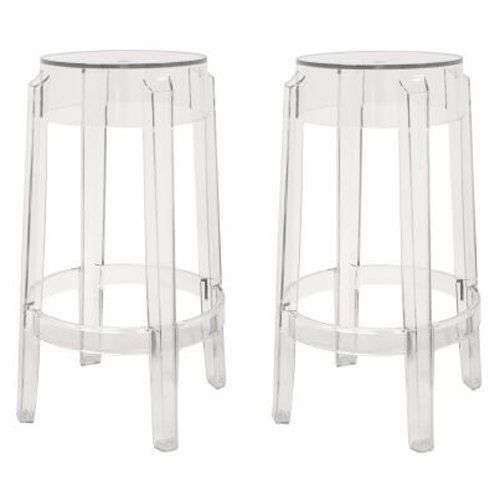 Baxton Studio Bettino Acrylic Counter Stool - Set of 2 - The sleek silhouette of the Baxton Studio Bettino Acrylic Counter Stool - Set of 2 allows you to slip these stools under your counter when they aren't...