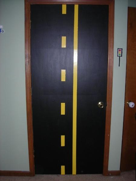 interesting door idea for car themed bedroom