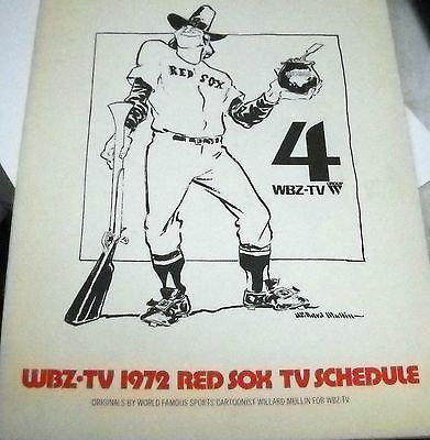 RARE 1972 FOLD OUT VINTAGE WBZ TV SCHEDULE WILLARD MULLIN BOSTON RED SOX