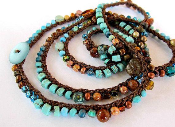Crochet wrap bracelet boho necklace beaded earth by CoffyCrochet