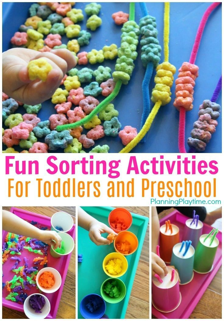 Looking for educational activities for 2 and 3-year olds? Check out these fun Sorting Activities for Preschool with Colors, Shapes and Fine Motor Practice.