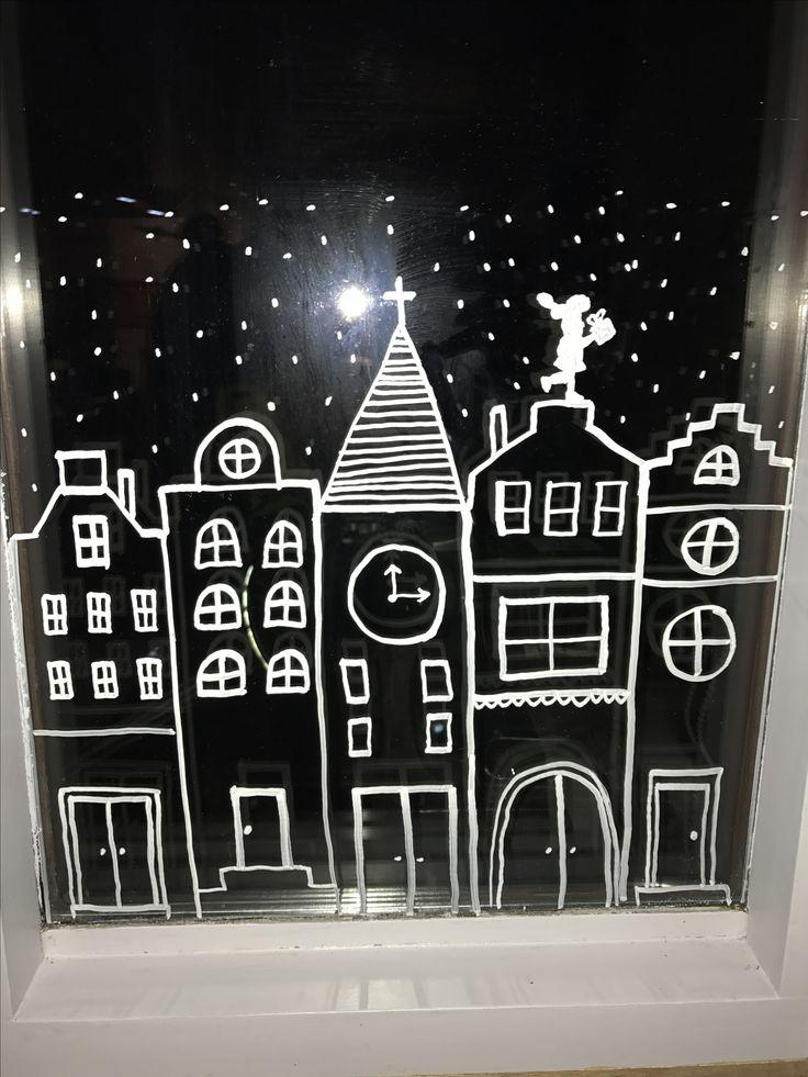 #raamdecoratie #sint #sinterklaas #piet #krijtstift