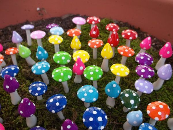 The 11 Best Fairy Garden Ideas - Rainbow Mushroom Fairy Garden (w/polymer clay)