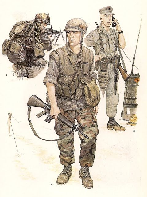 nº 1.- US Marine Machine Gunner ,Hue City , Tet  Offensive, February,1968.                              nº 2.- US Marine Rifleman,1st.Battalion, 7th Marines, Spring, 1969                              nº 3.- US Marine Radioman, Operación Starlite, August 1965.