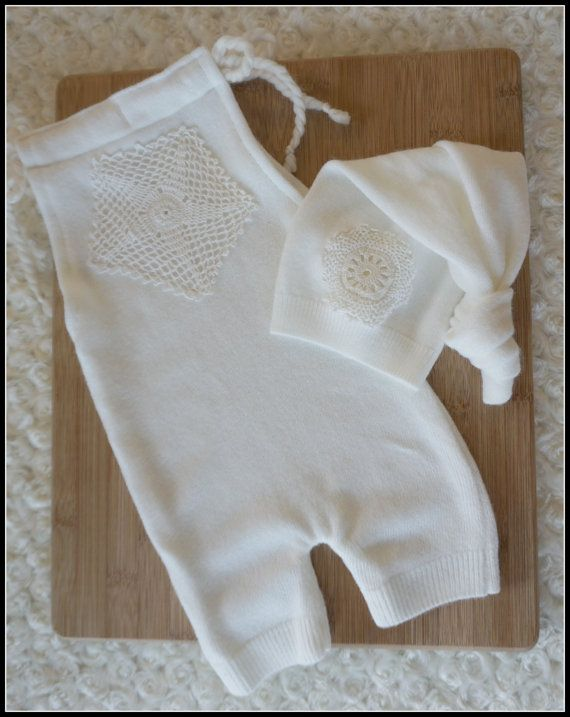 Newborn cream upcycled romper & top knot hat by JazzCraftBoutique