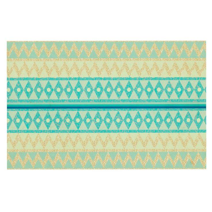 "Nika Martinez ""Glitter Chevron in Teal"" Blue Pattern Decorative Door Mat"