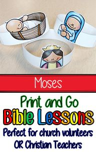 These Bible Lessons are great for Kindergarten, First Grade, and, Second Grade. They include lesson plans, whole group activities, object lessons, crafts, and bible games. Great resource for homeschooling moms, church volunteers, or Christian School Teachers. Sunday School Lessons Moses Bible Lesson