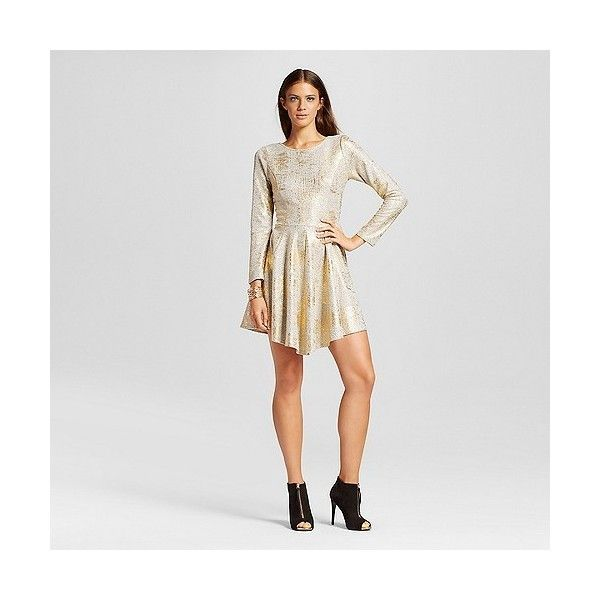 Women's Long Sleeve Foil Sparkle A-Line Dress Gold Metallic ($60) ❤ liked on Polyvore featuring dresses, gold, pattern dress, star dress, long sleeve cocktail dresses, sparkly dresses and long sleeve sparkle dress