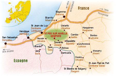 Carte Pays Basque Bayonne Biarritz St Jean De Luz