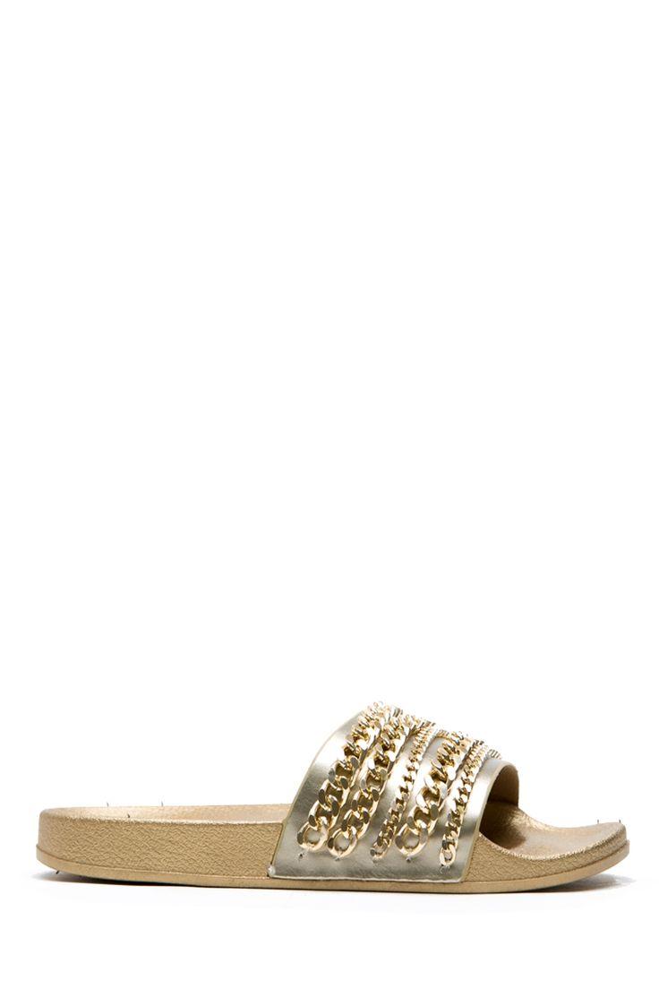 Gold Faux Leather Chain Slide Sandals @ Cicihot Sandals Shoes online store sale:Sandals,Thong Sandals,Women's Sandals,Dress Sandals,Summer Shoes,Spring Shoes,Wooden Sandal,Ladies Sandals,Girls Sandals,Evening Dress Shoes
