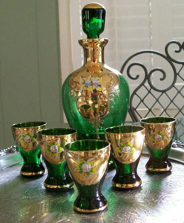 Moser. Vintage Czech Bohemian Hand painted Emerald Green Glass Decanter Cordial Set With Gold Gilding and Enamel Flowers.