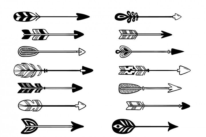 Aztec Arrows Ornament Bow Arrow With Feather Hipster Graphic Pointer By Tartila Floral Illustration Vector Bow Arrows Floral Illustrations