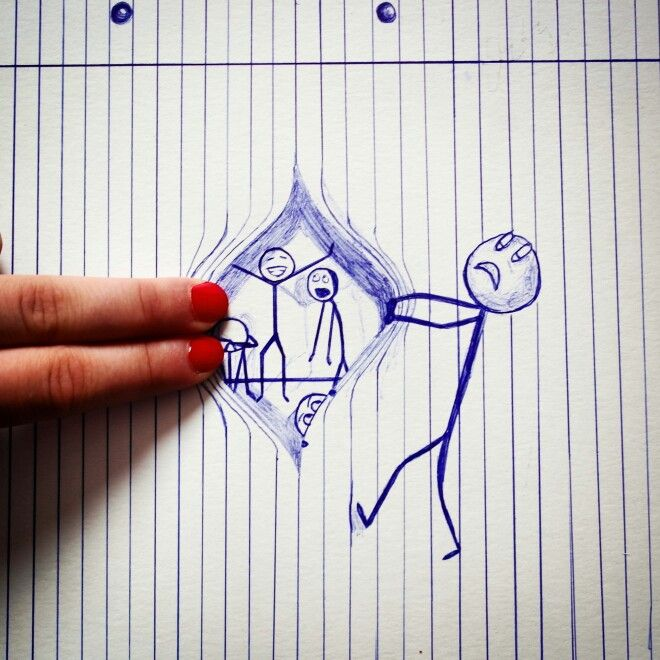 Haha cute drawing, that isn't too hard to draw:D