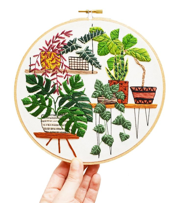 Fiber artist Sarah K. Benning is self-taught in the craft of embroidery but brings her background in fine art to every artwork she creates. Each piece first begins as an illustration where she draws inspiration from the aesthetics of Midcentury design, interior design trends, and often making refere