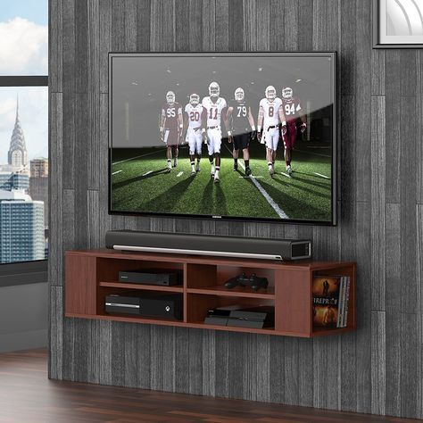 TV console Wall Mounted Audio/Video Console floating wall mount open shelf brown floating Entertainment Center Wall Mount Hanging Media Console Storage TV Stand-DS212001WB