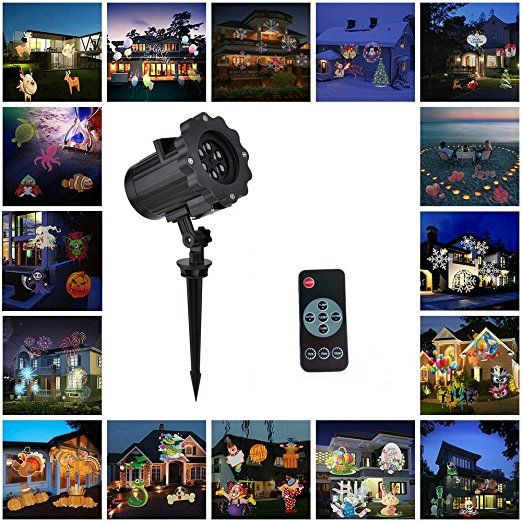 Christmas Projector Light, Guaiboshi LED Landscape Projector Lights Lamp with 16pcs Different Slides Switchable Patterns and Remote Control for Halloween Wedding Birthday Party Garden Decorations
