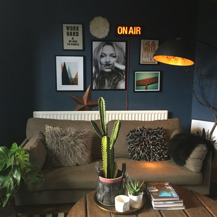 Dark interiors, Farrow and Ball Stiffkey blue, light box, gallery wall