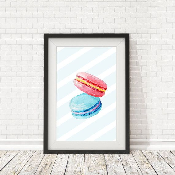 Macaron print Kitchen decor French macaron by BatLabPrintables