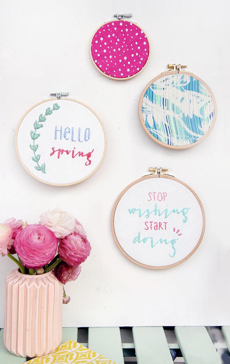 Kreative DIY-Idee zum Selbermachen: Lettering sticken in Stickrahmen