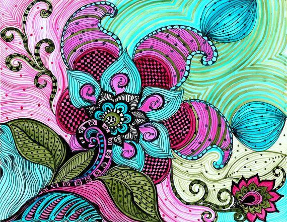 FLEUR paisley fine art encre bleu vert fleurs par devikasart