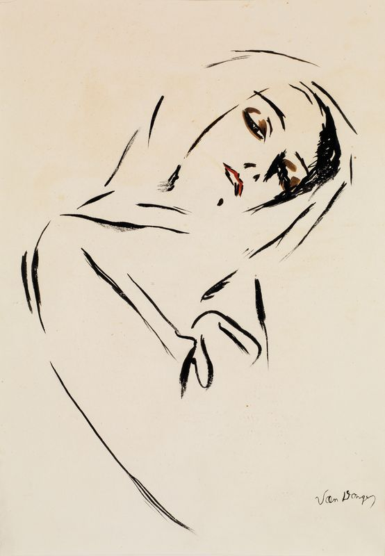 Kees Van Dongen (1877-1968), Portrait de femme au foulard), N/D. Ink and watercolour on paper...