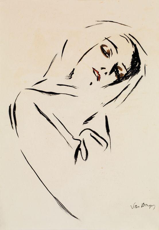 Kees Van Dongen (1877-1968) The Portrait of woman with scarf (Portrait de femme au foulard), N/D