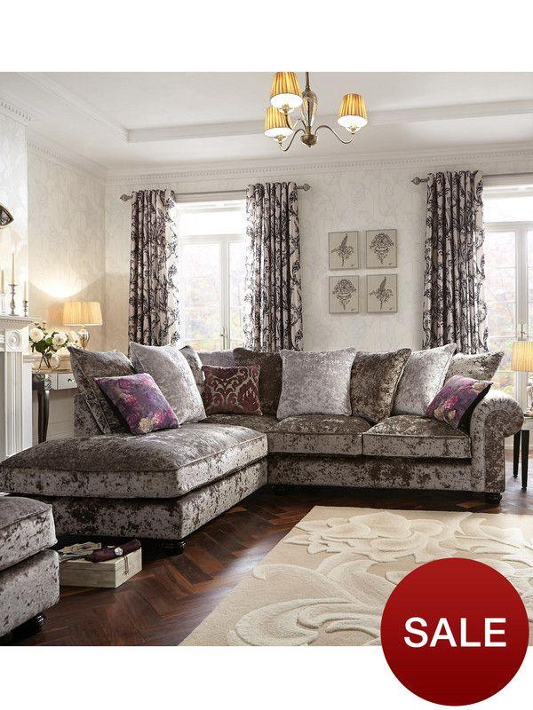 Laurence Llewelyn-Bowen Scarpa Left-Hand Fabric Corner Chaise Sofa | very.co.uk