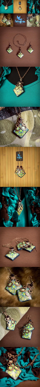 polymerclay, fimo, beads, kaleidoscope, cane, green, yellow, wirewrap, necklace, earrings, handmade, jewelry, hobby, polarfoxcraft