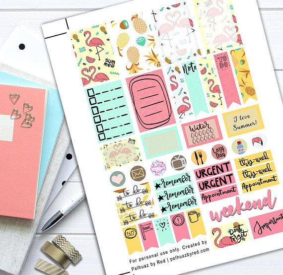 Pink Flamingo Summer Theme Planner Weekly Sticker Kit Happy | Craft Supplies & Tools,  Party & Gifting  Labels, Stickers & Tags , Stickers , Happy Planner , Weekly Stickers Set , Planner Stickers, Weekly Planner Set , MAMBI  Printable Stickers , Planner Sticker Set , Themed Sticker Set , Stickers , Summer Theme, Flamingo Theme,  Pink Flamingo Theme,  Pineapples