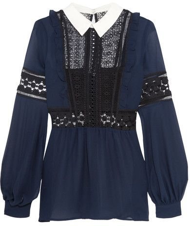Self-Portrait - Georgette And Guipure Lace Blouse - Navy