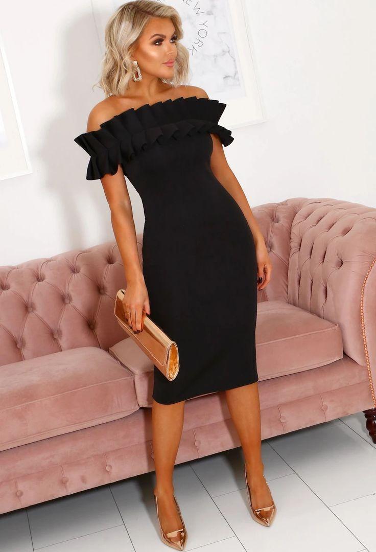 Black bardot frill detail bodycon dress girl rental manufacturers china