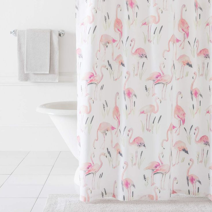 watercolor representation of charming pink flamingos grace our cotton shower curtain bringing a light and bright tropical touch to your bathroom dcor - Pink Flamingo Bath Decor