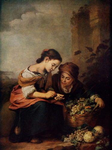XX RARE Antique c1914 Murillo Print Children Gipsie Fruit Seller Count Money | eBay